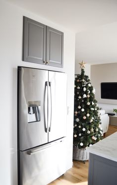 French Door Refrigerator, French Doors, Kitchen Appliances, Christmas Tree, Holiday Decor, House, Home Decor, Cooking Utensils, Teal Christmas Tree