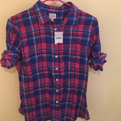 J Crew Blue and Pink Flannel J Crew Blue and Pink Flannel NWT J. Crew Tops
