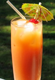 Bahama Mama  5 oz. Light Rum  .5 oz. Dark Rum  .5 oz. Malibu or Coconut Rum  .5 oz Spiced Rum  .5 oz. Bacardi 151 Rum  .5 oz. Kahlua  2 oz. Orange Juice  2 oz. Pineapple Juice  Splash Sweet and Sour mix  Splash Grenadine  Cherry or Pineapple wedge for garnish    Preparation:    Combine all of the liquid ingredients into an ice filled Collins glass.     Take a long spoon and gently stir.     Add a straw, and garnish accordingly.