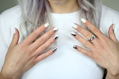 silver foil + white nails #minimalist #nailart #nails #nail