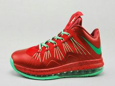 size 40 b7695 ddc1f Nike LeBron 10 Low Christmas Red Green