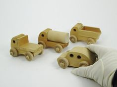 Wooden Toy Trucks and Car Vintage Wood Vehicles by PlantsNStuff