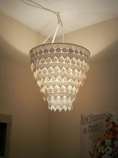 Venise Lace Faux Chandelier Pendant Lamp Shade Ivory