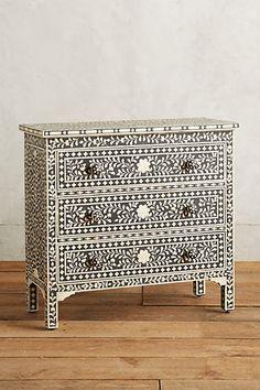 "Bone Inlay Three-Drawer Dresser #anthropologie in black or brown, 38"" wide"