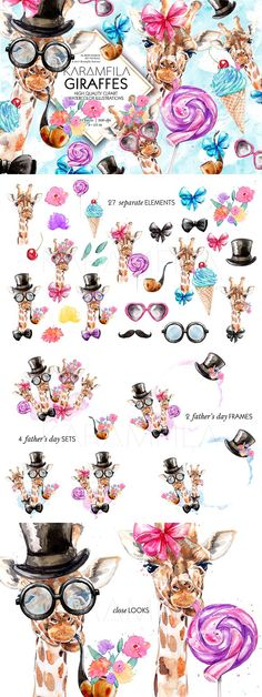 Giraffes- Illustrations Funny fashion Giraffes clipart, watercolor giraffe illustrations Father's Day clip art with lollipop, ice-cream, pipe, mustaches, bow tie, ribbons, flowers, top hat and sunglasses.