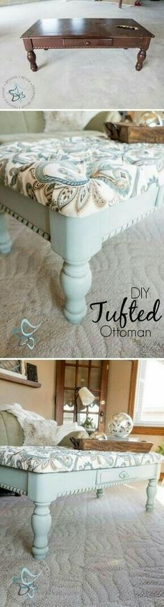 home DIY Tufted Coffee Table Bench. Using Art Prints With A Minimalist Home Decor Most decorators tr Old Furniture, Refurbished Furniture, Repurposed Furniture, Furniture Projects, Furniture Makeover, Home Projects, Painted Furniture, Vintage Furniture, Furniture Shopping