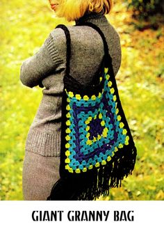 Vintage 70s Crochet gigante Bolso de la abuela por KinsieWoolShop, $3.20