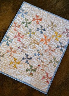 Pinwheel Doll Quilt - Reproduction 1930s Feedsack Fabric Vintage Look
