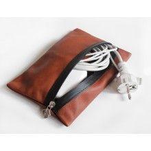 VANDEBAG Charger Bag N°417 - fine cowhide leather / colour hazel / splashproof zipper / suitable for MacBook Charger / handcrafted in Germany
