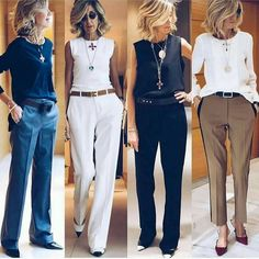 All perfect 👌 ❤️ via ❤️ ❤️ 60 Fashion, Over 50 Womens Fashion, Fashion Over 50, Work Fashion, Fashion Trends, Preppy Mode, Preppy Style, Classy Outfits, Chic Outfits