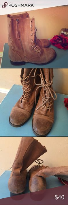 Aldo Vintage Inspired Leather Lace Up Combat Boots REPOSH! Bought these and then realized they really aren't my style. 100% Real, intentionally weathered brown/tan leather. Excellent condition. Lace up front with side zipper. Wear folded down or zippered up. Cute with leggings or skinnies and thick socks for fall and winter! No size on boots but they are a women's 8. Aldo Shoes Combat & Moto Boots
