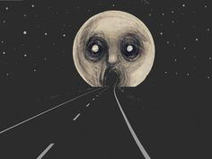 scary Illustration art Black and White creepy painting moon street ...
