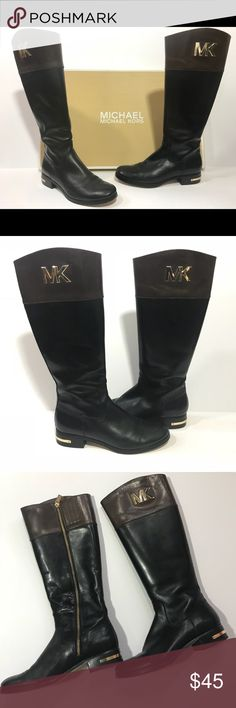 """MICHAEL Michael Kors - Hayley Tall Leather Boots Monogrammed hardware asserts your label loyalty on a classic, round-toe leather boot crafted with Michael Kors' refined sensibility. 1 1/2"""" heel. 16 1/2"""" boot shaft; 15"""" calf circumference. Side zip closure. Leather upper/leather and textile lining/synthetic sole. By MICHAEL Michael Kors; imported. Women's Shoes. MICHAEL Michael Kors Shoes"""