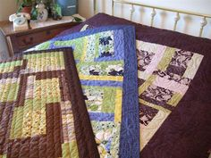 Three Quilts - same pattern - different fabrics - different quilting