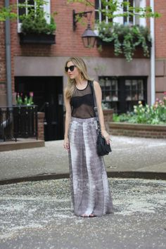 Going to great lengths on Impossibly Imperfect // Maxi skirt // Spring fashion // Mesh tank