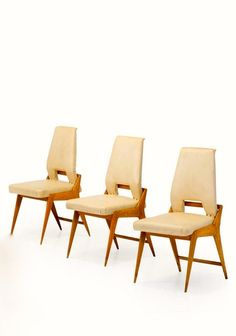 Ico Parisi Attributed; Oak Dining Chairs, 1950s.