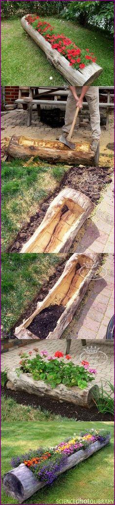 How to DIY Hollowed Tree Log Planters Tutorial #diy, #gardening, #planter http://www.fabartdiy.com/how-to-diy-hollowed-log-planter/