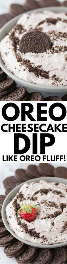 4 ingredient oreo cheesecake dip! Completely no bake oreo cheesecake dip that reminds me of oreo fluff!