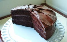 Rich, moist, three-layer chocolate cake with a butter cocoa frosting.