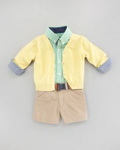Cardinal Yellow Cardigan, Lord of the Gings Shirtzie, Kelso Woven Belt & License-To-Twill Shorts by Andy & Evan at Neiman Marcus.