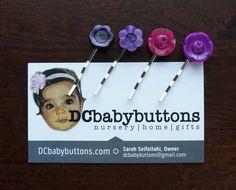 Purple #Jewel-Toned Button Mini Bobby Pins / Button Hair Accessories #buttonart #dcbabybuttons