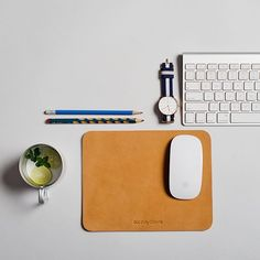 Fancy - Beige Precision Leather Mouse Pad by DailyObjects