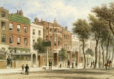 """Cheyne Walk by Thomas Hosmer Shepherd 1850 ( Two doors east of Don Saltero's Tavern is the house which became the residence of Dante Gabriel Rossetti (No. with its canted oriel window). Old London, East London, Great Britan, Dante Gabriel Rossetti, Chelsea London, London History, Museum Exhibition, 18th Century, Landscape"