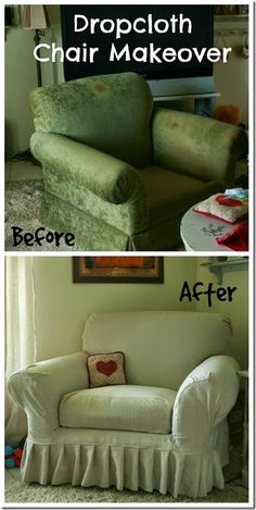 Canvas Drop Cloth Slipcover for chair Drop Cloth Slipcover, Armchair Slipcover, Slipcovers For Chairs, Settee, Diy Couch, Diy Chair, Furniture Making, Diy Furniture, Furniture Repair