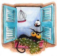 Original watercolor painting whimsical Stressie cat bird crow window shutters #IllustrationArt