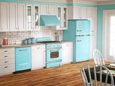 Desain Minimalis Modern Dapur Warna Biru Charming Blue Kitchen