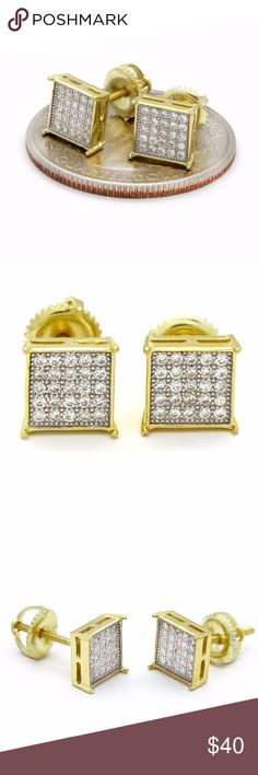 Gold Plated 925 Sterling Silver 7mm 5 Row TC Screw Gold Plated 925 Sterling Silver 7mm 5 Row TC Screw Back Earrings GOLD PLATED OVER 925. STERLING SILVER  Gem Color: Clear  Earring Size: 7MM  Metal: .925 Sterling Silver  Backings: High Quality 925. Screw Backs Accessories Jewelry