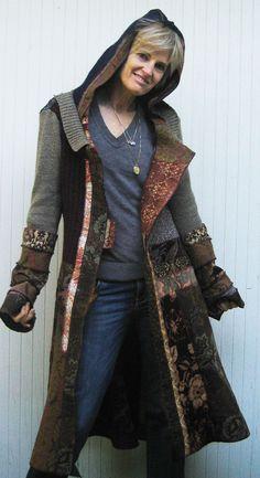Gypsy medieval multi fabric ethnic coat by norakdesign on Etsy, $625.00