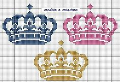 Cross Stitch Baby, Cross Stitch Flowers, Crown Pattern, Disney Cross Stitch Patterns, Fairy Princesses, Christmas Cross, Make And Sell, Needlepoint, Sewing