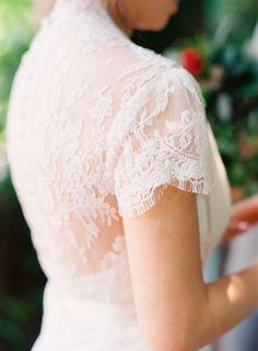 Delicate eyelash lace short sleeve wedding dress: http://www.stylemepretty.com/2016/02/23/trend-short-sleeve-wedding-dresses/