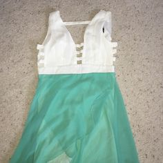 White/teal summer dress White and teal summer dress with back opening with cut opening Love Culture Dresses