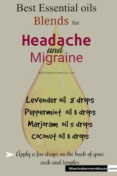 Best Essential Oils for Headache, Migraine and Pain Relief- If you are suffering frequently from several types of headaches — migraines, sinus, and tension. Try this essential oil blend in your diffuser for quick relief from headache. Add this essential oil blend to your diffuser -you can also mix it with a carrier oil, olive oil, in a roller bottle to use topically. Click on the image for more simple recipes for your diffuser. #EssentialOilBlends #essentialoilssinus #migraine #headache