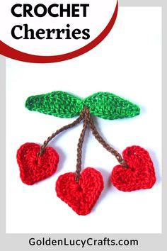 Cute crochet heart-shaped Cherry applique, free crochet pattern,  crochet motif, crochet berries, embellishment Bead Crochet, Cute Crochet, Crochet Motif, Double Crochet, Crochet Appliques, Crochet Mandala, Crochet Stitches, Diy Crochet Projects, Crochet Crafts