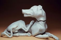 Linda Cordell's humorous or unsettling porcelain animals. Playing on the conventions of traditional porcelain figurines such as Sevres or Meissen, these ceramic animals portray more natural or base tendencies of sexuality or aggression. Ceramic Animals, Art Pieces, Statue, Ceramics, Dogs, Pottery Animals, Ceramica, Pottery, Artworks
