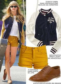 taylor swift | fashion style | varsity jacket, back to school shorts, loafers and pearls!
