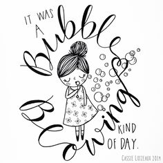 Bubble Blowing. Day 111 of yearlong sketchbook project. Cassie Loizeaux 2014