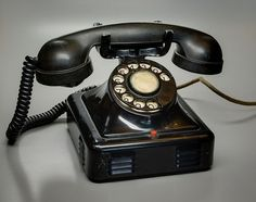 Rotary dial telephone, probably from Belgium (the circuit diagram inside is in Dutch and French)