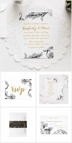 Delicate Floral Wedding Invitations Set