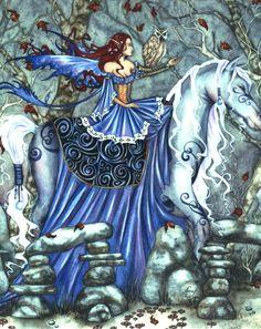 Amy Brown Rhiannon Fairy Ceramic Tile Art -- Horse & Owl