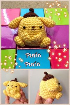 Purin-Chan ( Is a Custard-like golden Retriever created by Sanrio) Free Amigurumi Pattern English and Chinese   here: http://ddscrochet.pixnet.net/blog/post/349449053     PDF File here: http://www.ravelry.com/patterns/library/crochet-purin-purin-artist-dog-doll-toy