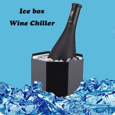 Smad Wine Ice bucket Cooler High Quality Party Champagne Beer Chiller Plastic Drink Ice Box Ice Holder for Bar-Black