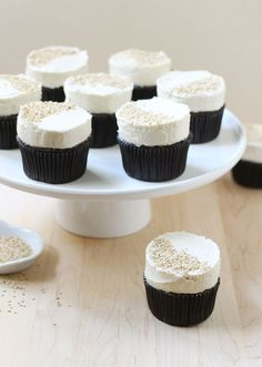 Dark Chocolate Cupcakes with Tahini Buttercream