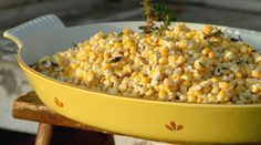 Jalapeno Creamed Corn   1 stick soft butter, 8oz soft cream cheese, 2 cups sharp cheddar cheese; 3 jalapenos, seeded and finely diced; 3 cans (11 oz ea) white shoepeg corn, drained  Mix all in a 13x9 pan. Bake uncovered in a 350 oven for 45 min. Stir before serving. Enjoy!!