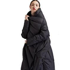 8d2f4da3cfb  EAM  2018 new spring winter V-collar long sleeve black loose big size  irregular solid color coat women jacket fashion