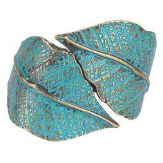 Etched Leaves Hinge Bracelet