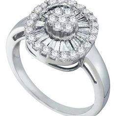 14KT White Gold 0.75CTW DIAMOND FLOWER RING